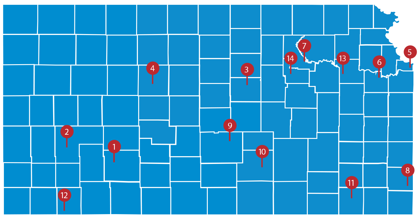 Kansas map with local associations marked